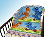 NEW COT BUMPER BABY NURSERY COLOURFUL DESIGNS 120x60cm140x70cm 180 cm Dino Blue