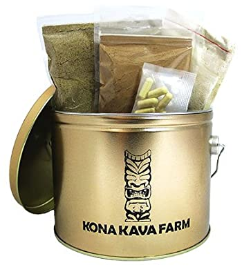 KONA KAVA Premium Kava Sampler Pack with Kava Powder, Instant Kava, Kava Capsules, and Muslin Extraction Bag