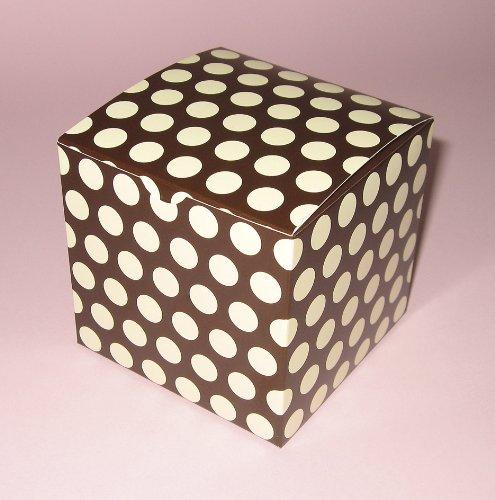 10 cajas de individual cupcake/caja de regalo Poka diseño de lunares marrón y crema + en