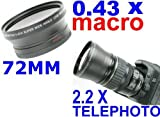 Neewer ~72Mm Wide Angle + 72Mm Telephoto Lens Kit! ~ Includes Lens Bags! For Nikon D40 D50 D60 D70 D80 D40X D90 D80 D70 D70S + Any Lens With 72Mm Filter Thread!!