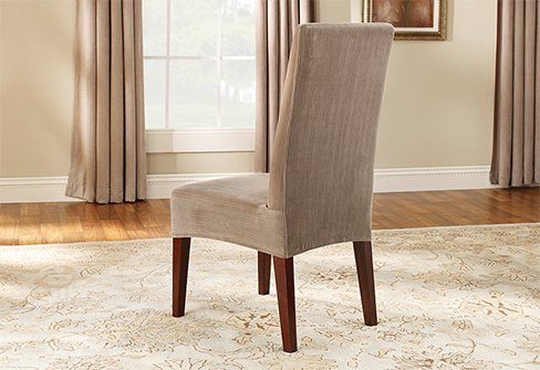Stretch Pinstripe Shorty Dining Chair Cover