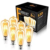LED Edison Bulb Dimmable Amber Warm 2700K Antique Vintage Style Filament Light Bulbs 40W Equivalent E26 Base 6-Pack by LUXON (Color: Amber Warm White-2700K, Tamaño: ST64)