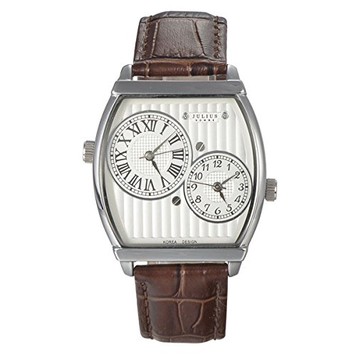 Julius Unique Dial Genuine Leather Band Two Time Zones Roman Arabic Dual Display Leisure Unisex Quartz Watch