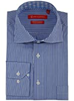 Gino Valentino Mens Striped Dress Shirt GiftBox Cotton Spread Collar Barrel Cuff