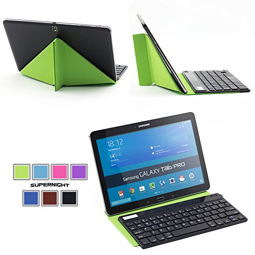Supernight Universal 9-10 Inch Tablet Portfolio Leather Case With Removable Detachable Bluetooth Keyboard For Samsung Galaxy Tab 10.1 / Tab 2 10.1 / Tab 3 10.1 / Note 10.1 / Asus Transformer / Goggle Nexus 10 / Dell Xps 10.1 / Nook Hd / Apple Ipad 2 3 4 S