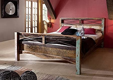 Massivholz massiv Möbel Holz Bett 140x200 lackiert Altholz massiv Möbel Spirit #45