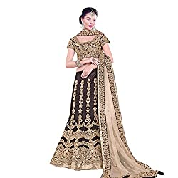 EthnicCrush Women's Georgette Semi Stitched Embroidered Lahenga Choli(EC119Mayloz23,Brown)