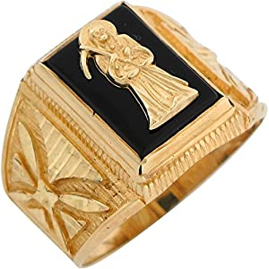 10k Yellow Gold Onyx Grim Reaper Santa Muerte Mens Ring