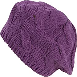 Sakkas EH900RB - Cable Knitted Light Slouch Fashion Beanie /Beret /Winter Hat - Purple/One Size