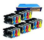 Inkjetcorner 20 Pack Compatible Ink Cartridge for Brother LC101 LC103 MFC-J245 MFC-J285DW MFC-J450DW MFC-J470W MFC-J650DW MFC-J870DW MFDW MFC-J475DC-J875DW MFC-J4410DW MFC-J4510DW MFC-J4610DW (Shows Accurate Ink Levels)