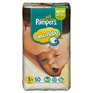 Pampers new baby couches taille 1 2 5 kg format g ant lot de 2 x 50 couches 100 couches - Couche pampers new baby taille 2 ...