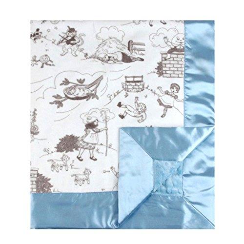 "My Blankee Bedtime Story Minky Silver w/ Minky Dot Blue Baby Blanket, 30"" x 35"""