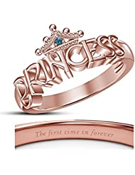 Vorra Fashion Disney Princess Inspired Engagement Rings, Merida Princess Ring In 14k Rose Gold Plated 925 Silver
