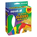 Maxell Multi-Color CD/DVD Sleeves - 100 Pack (190132)