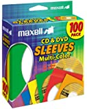 Maxell CD-403 Multi-Color CD/DVD Sleeves - 100 Pack (190132)