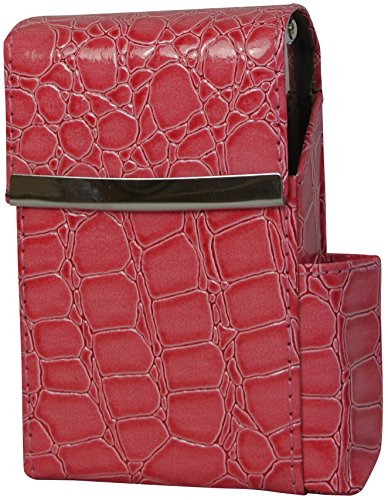 Genuine Leather Fliptop Cigarette Case & Lighter Holder in A Variety of Colors and Styles (Moc Croc Hot Pink)