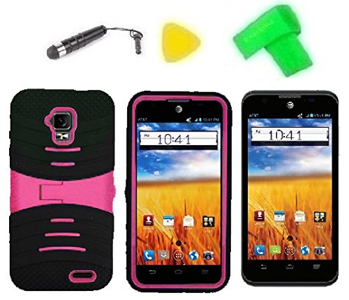 Heavy Duty Hybrid Phone Cover Case Cell Phone Accessory + Extreme Band + Stylus Pen + Lcd Screen Protector + Yellow Pry Tool For Gophone At&T Zte Mustang Z998 Prepaid (S-Stand Black Pink)