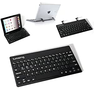 Lumsing Ultrathin iPad Wireless Bluetooth 3.0 Aluminum Keyboard with Stands For Cellphones and Tablets Samsung Tab 2 Tab 3, iPad Retina iPad 2 New iPad iPad Mini, Google Nexus 7 10, ASUS MeMOPad Vivotab, Acer Iconia, Blaceberry Playbook, Microsoft Surface Pro RT(Android, Window and iOS Systems) with Built-in lithium battery-Black