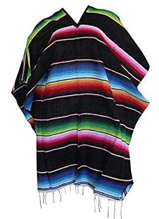 Del Mex (TM) Mexican Serape Poncho Pancho Adult Costume You choose color.