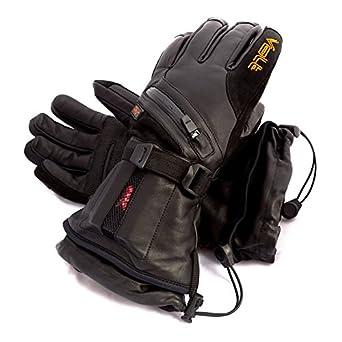 Volt Volt Heated Waterproof Leather Gloves, Black, Leather, Medium