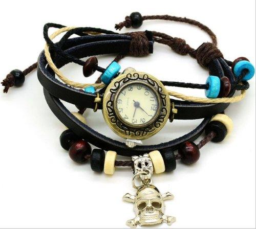 Kano Bak(Tm) Black Color Vintage Bronze Skull Punk Quartz Fashion Retro Wrap Around Weave Leather Bracelet Wristwatch Wristband Gift Watch