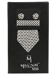 Magson Neo Men's Micro Fibre Jacquard Narrow Tie Combo, Devon - Black