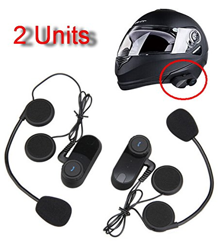 Amgaze 2 x 800m Water Resistant Bluetooth Motorcycle Motorbike Helmet Intercom Interphone Headset for 2 or 3 riders and Audio for Walkie Talkie MP3 player GPS - Hands Free & FM radio (2Pack)
