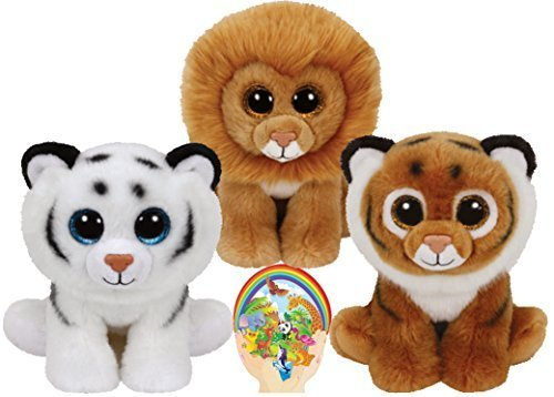 Ty-Beanie-Babies-Tigers-Tiggs-and-Tundra-and-Louie-the-Lion-Gift-set-of-3-Plush-Toys-6-8-inches-tall-with-Bonus-Animals-Sticker