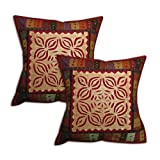 Pillow Protector Applique Cut Work Cotton Multicolored Handmade Set of 2 Cushion Covers 41 x 41 cmsby DakshCraft