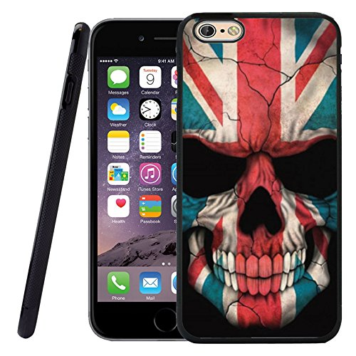 iPhone 6S Black Case, Customized Black Soft Rubber TPU Cool Style Design 3D Printing Scratch-Resistant Thin Flimsy Case For iPhone 6 Case Black Flag Skull