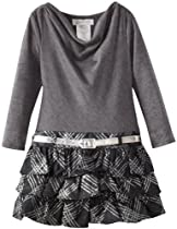 Bonnie Jean Girls 2-6X Ruffle Knit Tiered Skirt Dress, Grey, 2T