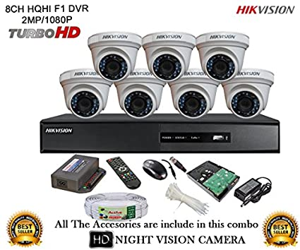 Hikvision-DS-7208HQHI-E1-8CH-Dvr,-7(DS-2CE56DOT-IRP)-Dome-Camera-(With-Mouse,Remote,1TB-HDD,Power-supply,Cable,Bc&Dnc-Connectors)