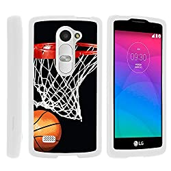 Power Case, Slim Fit Snap On Cover with Unique, Customized Design for LG Leon C40, H340N, Tribute 2, Power L22C, Destiny L21G, Sunset L33L (T Mobile, Metro PCS, Boost Mobile, Straight Talk, Tracfone) from MINITURTLE | Includes Clear Screen Protector and Stylus Pen - Basketball Swish