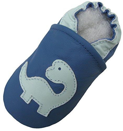 Carozoo-Bleu-de-Dinosaure-Dinosaur-Blue-Chaussures-EnfantBb-Semelle-Souple-Garon