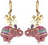 """Betsey Johnson """"A Day at the Zoo"""" Elephant Drop Earrings"""