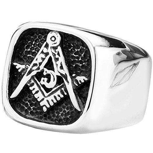 Men's Vintage Embossed Stamped Freemason Masonic Stainless Steel Biker Enamel Ring Silver Black
