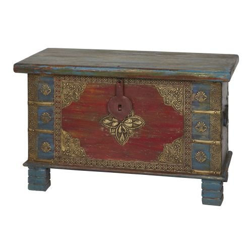 Wooden Hand Painted Two Tone Trunk In Mango Wood