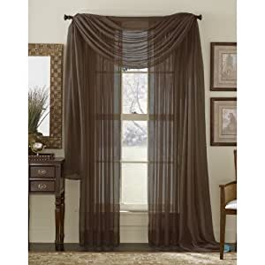 6 Piece Solid Chocolate Brown Sheer Curtains