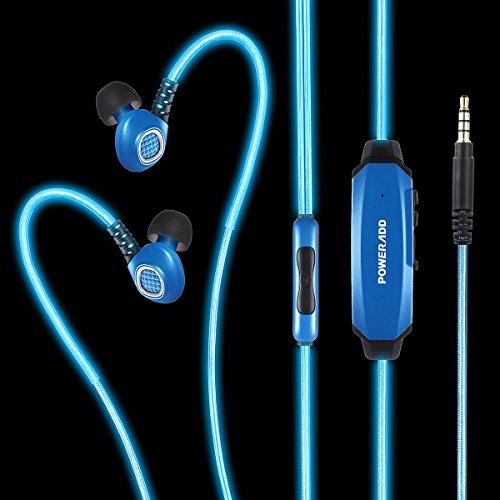 (パワーアド)Poweradd スポーツイヤホン ステレオインサイドホン 防汗 高音質 マイク付き 光る(ブルー)