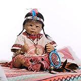 NPKDOLL Piel Renacer De La Muñeca Del Estilo De La India Negro 22 Pulgadas 55 Centímetro De Silicona Vinilo Magnética Boca Realista Niño Niña De Juguete Dreamcatcher Reborn Doll A1ES