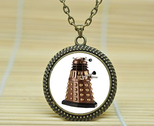 SunShine Day Fashion Necklace Dalek Necklace. Tardis Pendant. Doctor Who Necklace Glass Cabochon Necklace A3019