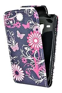 Accessory Master Coque en cuir pour Samsung Galaxy S3 Mini i8190 Papillon Fleur Violet
