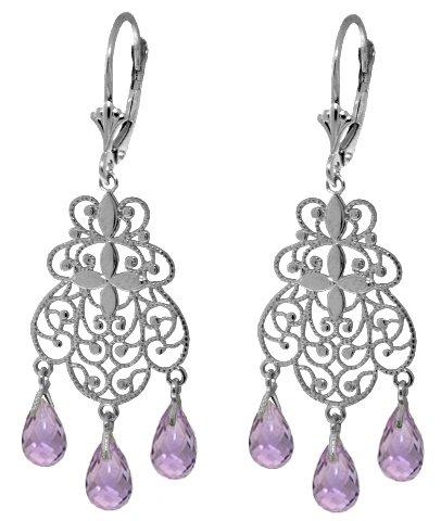 14k White Gold Amethyst Chandelier Earrings