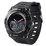 HIWATCH メンズ 腕時計 ソーラー アナデジ式 アラーム 防水 登山