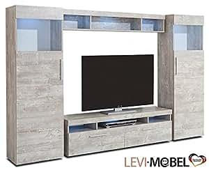 wohnwand 4 tlg wohnzimmer anbauwand lowboard vitrine beton optik matt neu 869299. Black Bedroom Furniture Sets. Home Design Ideas