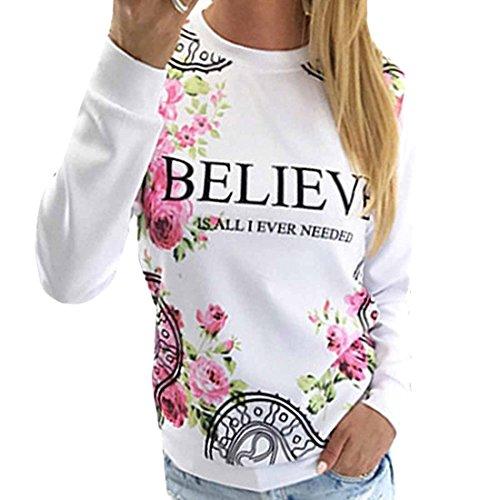credere-floreale-stampato-donne-fresche-di-base-bianco-felpa-casual-top-manica-lunga