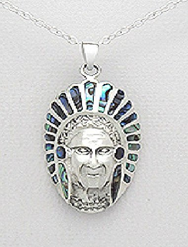 .925 Sterling Silver Amerindien Native American Indian Chief With Feather Decorated With Natural Shell 20Mm X 40Mm Pendant Comes With A Chain Necklace