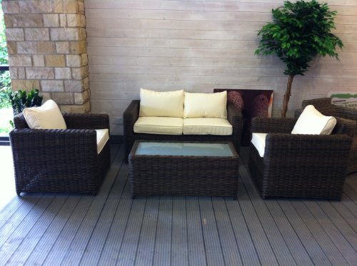 Rattan Indoor or Outdoor 12 Piece Sofa Set - All Weather Havanna Design In Two Tone Brown Cream Cushions Summer Sale Now On