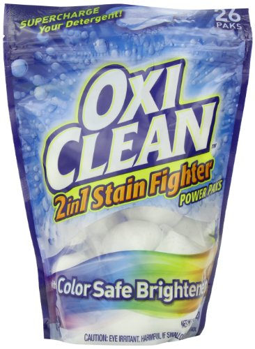 Oxiclean Max Force 2 In 1 Stain Fighter With Color Safe Brightener Power Packs, 26 Count