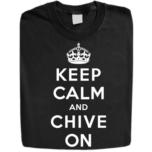 Stabilitees Keep Calm and Chive On INSPIRED Mens T Shirts, Black, Small